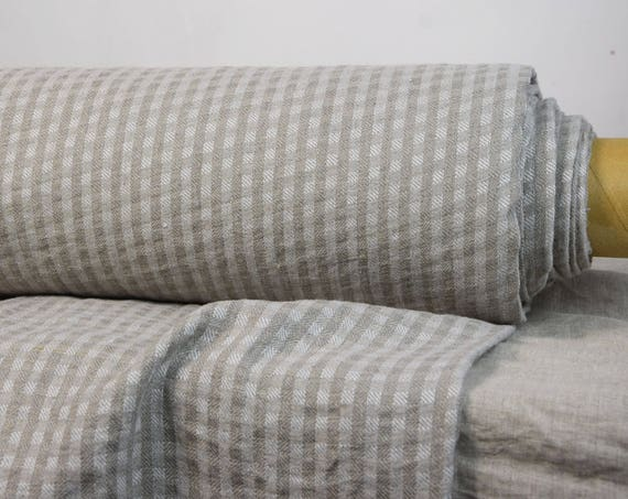 "Pure 100% linen fabric Letta Folk 210gsm. Undyed flax/off-white checks, folk style. Washed-softened. The last piece 1.90m x 1.45m (75""x57"")!"
