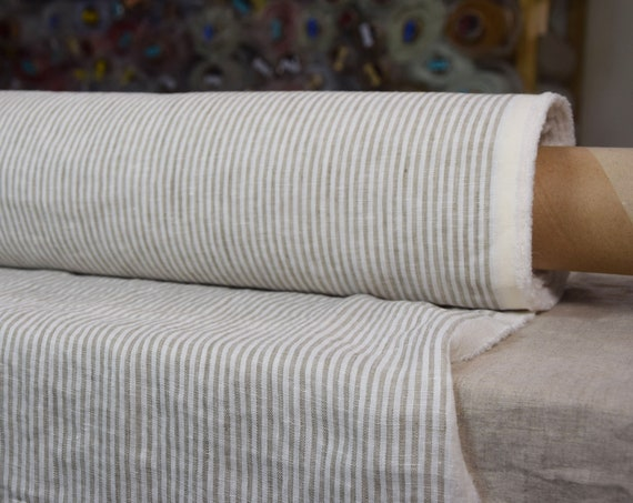 Pure 100% linen fabric Aura Beige Striped 125gsm. White-beige stripes 3mm. Light weight, washed-softened.