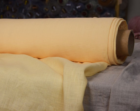 "Pure 100% linen fabric Aura Cheddar Yellow 125gsm. Washed-softened, dense, thin.  The last piece 1.00x 1.45m =39""x57""!"