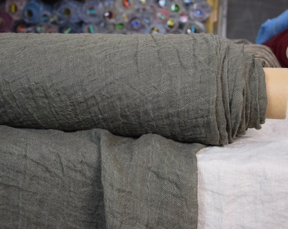 Linen fabric Pura Field Drab. Thin semi-sheer gauze. 100% linen 110gsm. Open weave (loosely woven). Washed-softened.