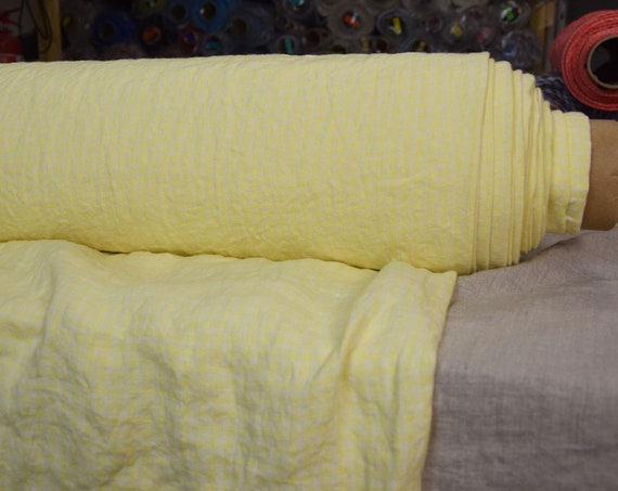 Pure 100% linen fabric Aurora Lemon Gingham 165gsm. 4mm checks woven from bright shiny lemon yellow and pale yellow. Washed-softened.
