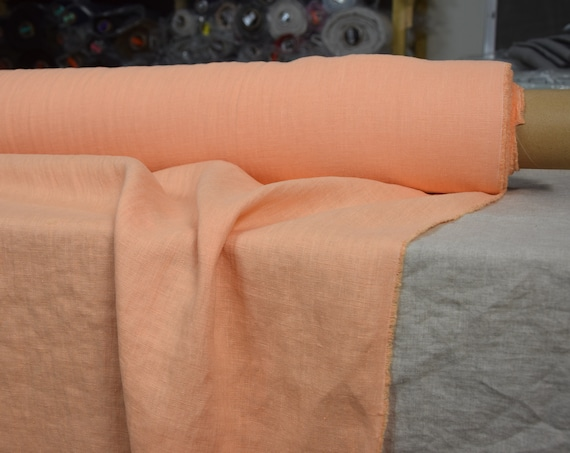 Pure 100% linen fabric Gloria Vivid Peach 190gsm(5.60oz/yd2). Middle weight, densely woven, washed-softened.