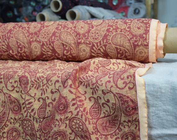Pure 100% linen fabric Nora Golden/Red Paisley 210gsm (6.20 oz/yd2). Washed-softened. Pre-shrunk. Naturally wrinkled.