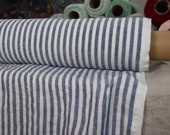 Pure 100% linen fabric Aura Bengal Stripes Blue White 125gsm. Stripes are 8mm. Thin, washed-softened.