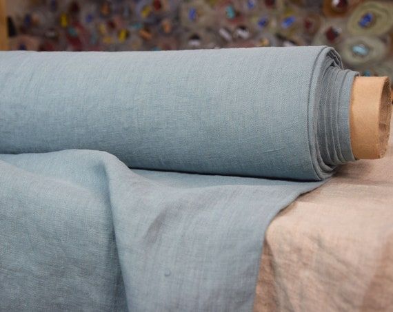 Pure 100% linen fabric Gloria Agave 190gsm. Pastel blue-green color. Medium weight, plain, washed, softened.