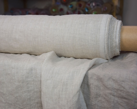 Pure linen fabric Aura Beige Melange 125gsm. Pale gray melange made from white and not dyed flax. Pre-washed, softened.