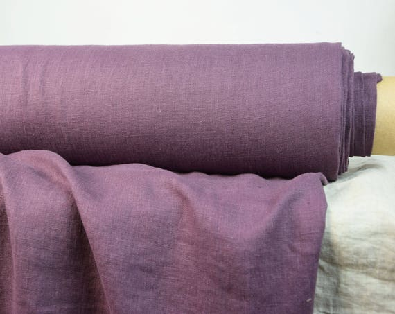 Pure 100% linen fabric Gloria Amethyst 190gsm. Purple-violet color. Middle weight, washed-softened.