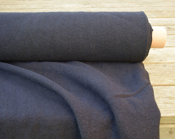 100% linen fabric Gravita Navy 450gsm(13.30oz/yd2). Washed/Pre-shrunk. Thick, very heavy, eco-friendly material for upholstery, furnishing.