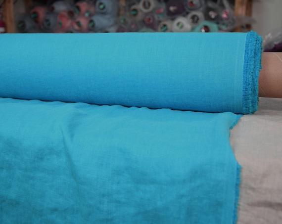 "Pure 100% linen fabric Gloria Glamorous Cyan 190gsm (5.60 oz/yd2). Bright greenish-blue, turquoise. Washed, softened. Widht 145cm (57"")."