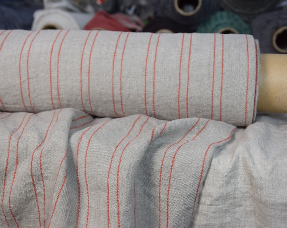 "SWATCH (sample) 12x12cm (5x5""). Pure 100% linen fabric Aurora Natural Striped 165gsm. Red pinstripes on undyed flax. Washed-softened."