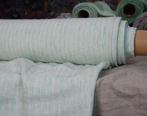 Pure 100% linen fabric Terra Green/White Striped 210gsm. Middle weight, washed-softened, plain weave.