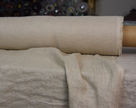 Very thin 95gsm semi-sheer pure 100% linen fabric Serena  Beige 95gsm. Washed-softened.