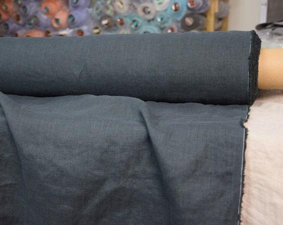 100% linen fabric Gloria Greened Charcoal 190gsm (5.60oz/yd2). Deep rich dark greenish-black color. Washed-softened. Pre-shrunk. Organic.