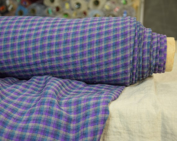 Pure 100% linen fabric Aurora Windowpane Check Purple 160gsm. Chekered in violet purple teal gray. Medium-light weight, washed-softened.