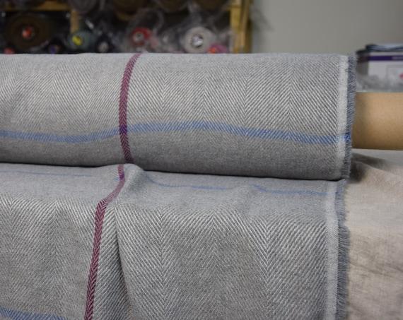 Linen/wool 52/36% fabric Dora Gray Windowpane Herringbone 270gsm. Washed, softened, pre-shrunk.
