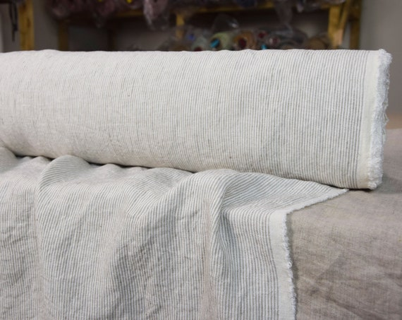 "Pure 100% linen fabric Elba Beige Pencil Stripes 200gsm. White/beige 1.5mm stripes. Washed-softened. The last piece 1.40mx1.55m=55""x62""!"