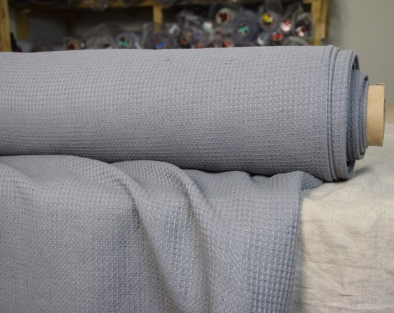 50/50% linen/cotton waffle fabric Tutela Silver Spring 310gsm. Gray color with a cool hint, sophisticated silvery-blue hue. Softened-washed.