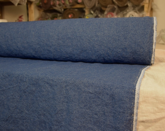 100% linen fabric Prana Aged Melange Denim 380gsm. Washed/Pre-shrunk. Thick, heavy, eco-friendly material for upholstery, furnishing.