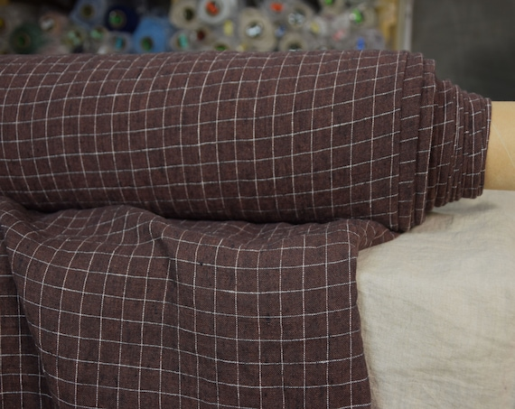 Pure 100% linen fabric Terra Dark Brown Melange Graph Check 210gsm. Grid pattern. Washed-softened.