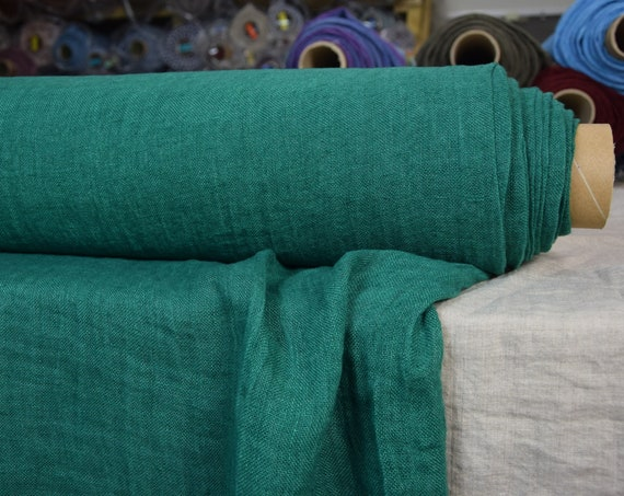 Linen fabric Pura True Green. Thin semi-sheer gauze. 100% linen 110gsm. Open weave (loosely woven). Washed-softened.