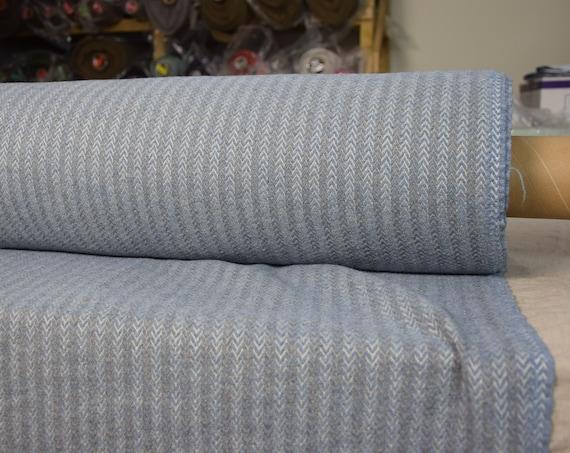 "SWATCH (sample) 12x12cm (5x5""). Linen/wool 45/40% fabric Dora Blue Small Herringbone 270gsm. Washed, softened, pre-shrunk."