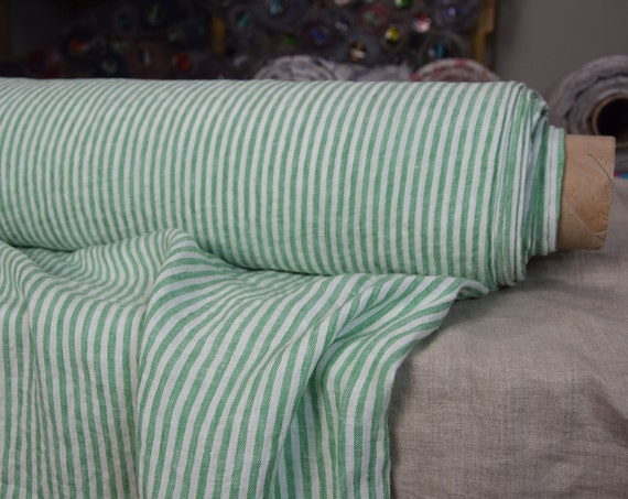 Pure 100% linen fabric Aurora Green/White Striped 160gsm. Green/white 4mm stripes. Washed-softened.