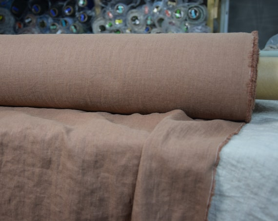 Pure 100% linen fabric Gloria Cocoa Brown 190gsm. Medium thickness, densely woven, washed-softened.