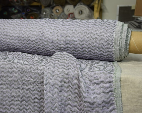 Pure 100% linen fabric Delta Hazy Lilac Chevron 140gsm (4.15oz/yd2). Washed-softened. Pre-shrunk. Naturally wrinkled.
