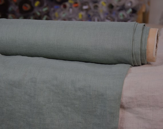 Pure 100% linen fabric Aura Willow Bough 190gsm. Muted quite dark gray-green color. Washed-softened, pre-shrunk, thin.