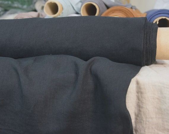 Pure 100% linen fabric Augusta Almost Black 160gsm. Washed-softened, pre-shrunk.