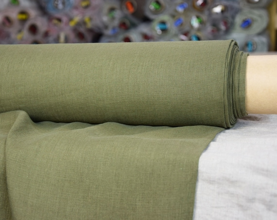 Pure 100% linen fabric Aura Capulet Olive 125gsm. Military green-olive color. Washed-softened, thin.