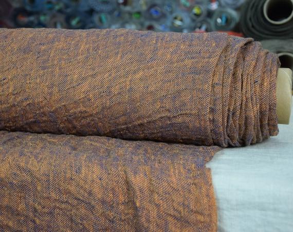 "SWATCH (sample) 12x12cm (5x5""). Linen fabric Pura Twinkling Blue Melange. Thin semi-sheer gauze. 100% linen 110gsm. Washed-softened."