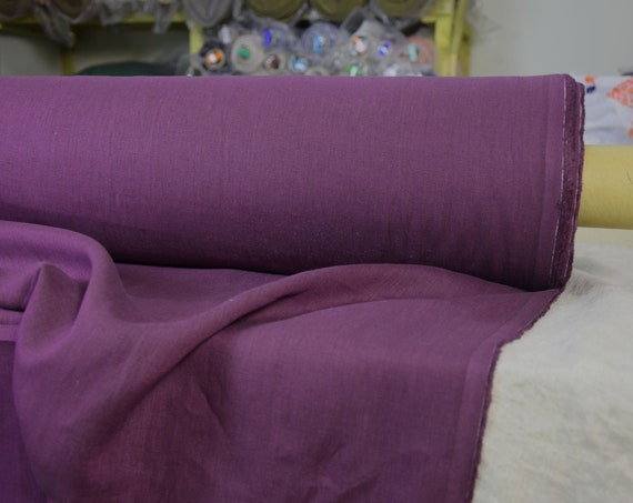 Pure 100% linen fabric Aura Dimmed Purple 125gsm. Strong, rich, saturated and quite dark shade of purple. Washed-softened.