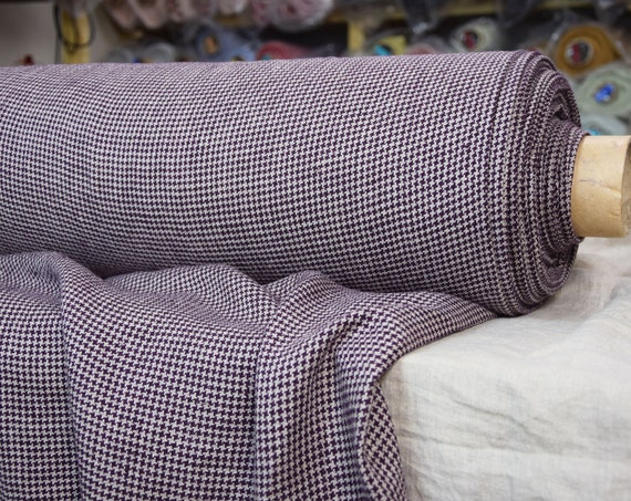 Pure 100% linen fabric Letta Hound's Tooth Purple 210gsm. Dog's tooth / Crow's feet pattern. Undyed flax & gray-purple. Washed-softened.