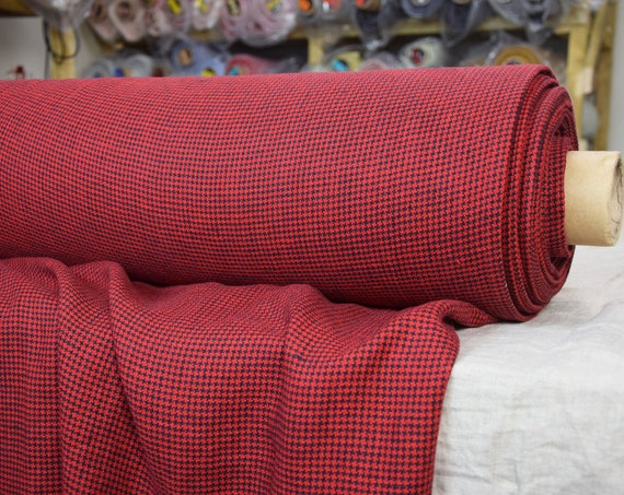 Pure 100% linen fabric Letta Hound's Tooth Red 210gsm. Dog's tooth / Crow's feet pattern. Woven from black and red. Washed-softened.