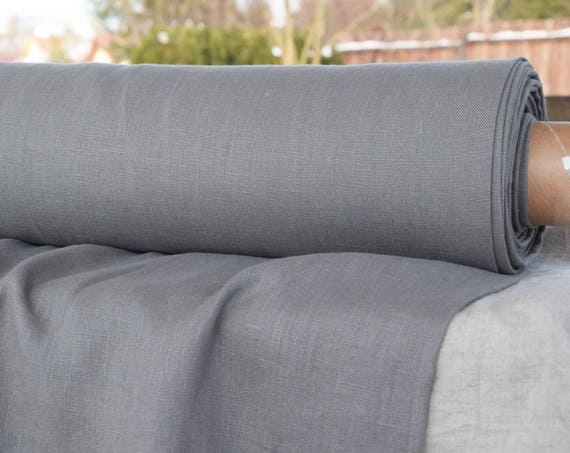 Pure 100% linen fabric Luna Slate Gray 290gsm. Medium darkness gray, violetish undertone. Heavy, thick, pre-washed, densely woven, homespun.