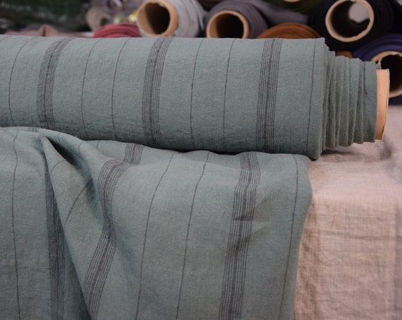 Pure 100% linen fabric Pola Winchester Sage Striped 200gsm.  Washed-softened. Pre-shrunk. Naturally wrinkled.