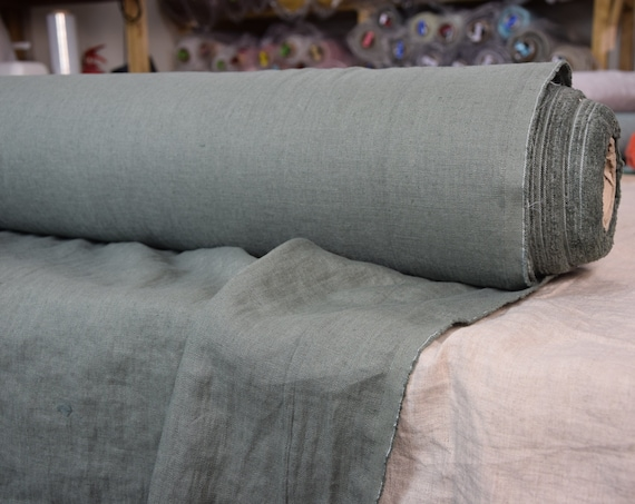 WHOLESALE. Pure 100% linen fabric Gloria Celadon 190gsm (muted  quite dark gray-green color of antique chinese  pottery). Washed-softened.