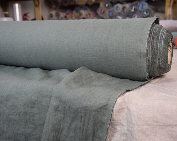 Pure 100% linen fabric Gloria Dark Sage 190gsm. Muted gray-green color. Densely woven, washed-softened.