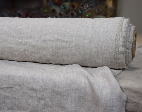 Linen fabric Augusta Beige Melange 145gsm. Pale gray melange chambray made from white and not dyed flax.  Washed-softened.