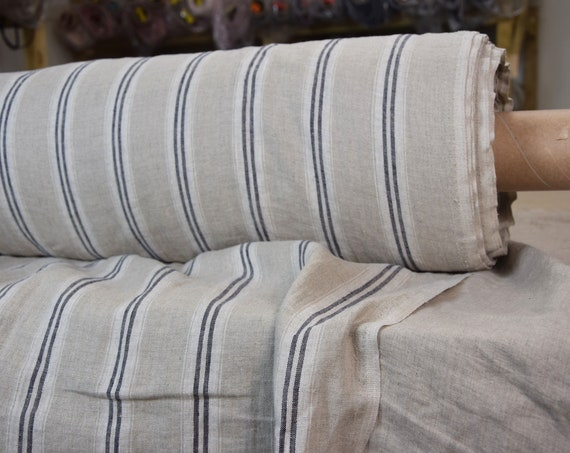 Pure 100% linen fabric Elba Blue-Natural Shadow Stripes 190gsm. Dark gray-blue and white strips on not dyed flax background. Washed-softened