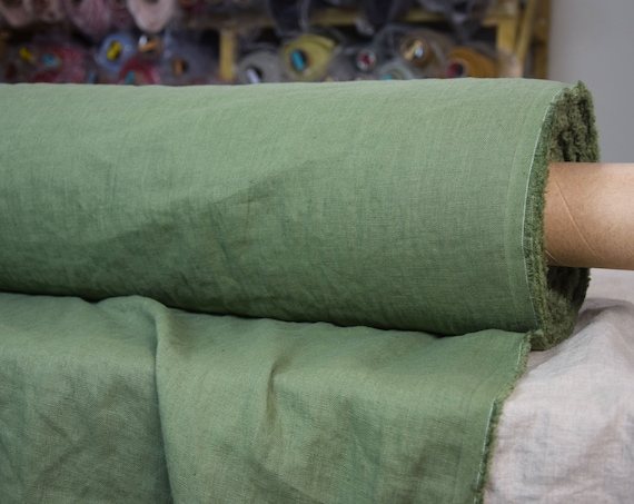 Pure 100% linen fabric Gloria Mosstone 190gsm. Muted olive-green. Middle weight, dense, washed-softened.