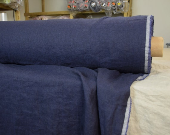 Pure 100% linen fabric Margarita Eclipse 190gsm. Dark black-blue melange. Medium weight, washed-softened.
