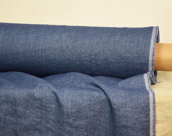"""Linen/wool (85/15%) fabric Teresa Blue 210gsm. Denim look blue melange. Washed and softened. Middle weigh. The last piece 1.60x1.45m=63x57""""!"""