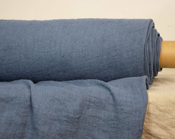 Pure 100% linen fabric Felicia Glaucous Blue 180gms. Medium weigh, washed-softened. Sparse loose plain weave.