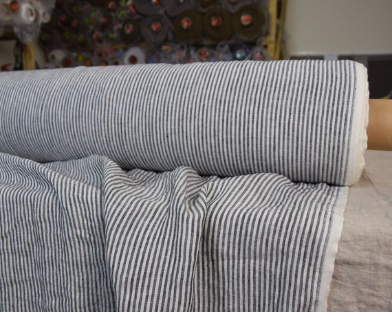 Pure 100% linen fabric Aura Black Striped 125gsm. White / black stripes 3mm. Thin, washed-softened.