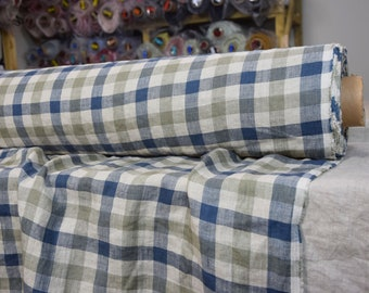 Pure 100% linen fabric 190gsm. Gray, blue, not dyed flax 2cm checks . Medium weight, washed-softened.