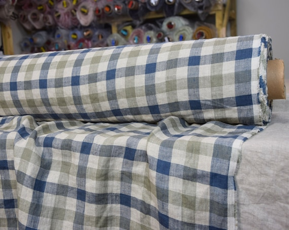 Pure 100% linen fabric Gloria Buffalo Checks Gray Blue 190gsm. Gray, blue and not dyed flax 2cm checks . Washed-softened.