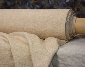 Linen fabric. Pure 100% linen 160gsm.  Pale brownish melange chambray (Brown Sugar).  Washed-softened.