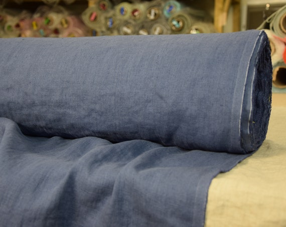 Pure 100% linen fabric Gloria Blue Iris 190gsm. Middle weight, densely woven, washed-softened.